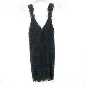 Free People Black V-Neck Lace Mini Dress